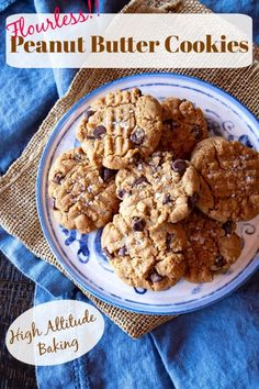 Easy Flourless Peanut Butter Cookies ready from start to finish in < 30 minutes. Gluten-free plus instructions for high altitude baking with a link to instructions for baking at sea level. #PeanutButterCookies #PeanutButterCookiesRecipe #EasyPeanutButterCookies #GlutenFreePeanutButterCookies #GlutenFreePeanutButterCookiesChocolate Homemade Desserts, Easy Desserts, Dessert Recipes, Gluten Free Peanut Butter Cookies, Healthy Peanut Butter, Best Cookie Recipes, Baking Recipes, Nut Recipes, Free Recipes