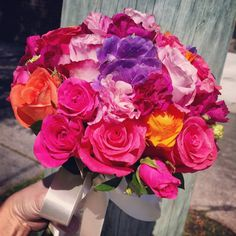 Fuchsia pink and purple bridal bouquet #sunpetalsflorist
