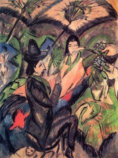 Ernst Ludwig Kirchner, Couple under Japanese Umbrella, 1912