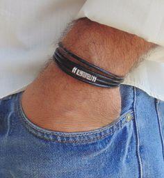 Mens Wrap Leather Bracelet Greek Key Style Handmade Free Shipping Black Gift #Handmade #Surfer