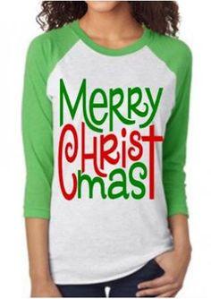 Christmas Letter Printed Splicing O-Neck T-Shirt Vinyl Christmas Shirts 345dedfb4