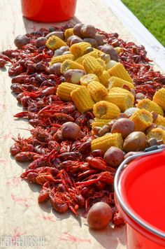 Celebrate with crawfish boil party for any occasion! Crawfish boil decorations, cupcake toppers, cake pops, beverage station, and more crawfish boil party ideas Fish Boil, Crawfish Party, Seafood Boil Party, Seafood Boil Recipes, Seafood Gumbo, Chowder Recipes, Spicy Recipes, Party Recipes, Seafood Broil