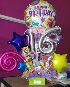 Balloon Decorations Party, Balloon Bouquet, Ideas Para Fiestas, Gift Baskets, Chocolates, Birthday Candles, Balloons, Lily, Candy