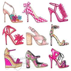 """151 Likes, 5 Comments - Joanna Baker (@joannabaker) on Instagram: """"Pink #tuesdayshoesday perfection which one is your fav? #fashionillustration #closetgoals…"""""""