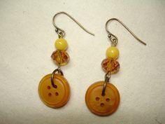 Vintage BUTTON EARRINGS - Button Jewelry - Dangle Earrings - HONEY gold - Deep golden yellow. $8.00, via Etsy.