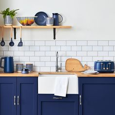 Made from rubberwood and designed in a fun whale shaped in laser finish, this chopping board can easily be wiped clean when required and is perfect for protecting your kitchen worktops from scratches whilst preparing foods. Navy Blue Kitchen Cabinets, Gold Kitchen, New Kitchen, Navy Blue Kitchens, Coloured Kitchen Cabinets, Modern Shaker Kitchen, 1930s Kitchen, Navy Cabinets, Funky Kitchen