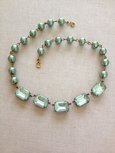 Sage green pearl and rhinestone necklace by ChicMaddiesBoutique