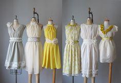mismatched bridesmaid dresses  / Romantic /  yellow   / dresses /Fairy / Dreamy / Bridesmaid / Party / wedding / Bride /. $99.99, via Etsy.