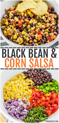 This homemade black bean corn salsa is sure to be a hit with any audience! Kick up … – This homemade black bean corn salsa is sure to be a hit with any audience! Increase the This homemade black bean corn salsa is sure to be a hit with any audience! Taco Side Dishes, Mexican Side Dishes, Dinner Side Dishes, Side Dish Recipes, Easy Dinner Recipes, Food Dishes, Yummy Recipes, Cooking Recipes, Healthy Recipes