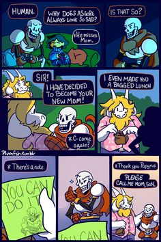 """scienceisfood: """" plumfsh: """" Comic N-013? """"The Mom Friend"""" Frisk and Papyrus are playing the Adventures of Cookie and Cream. (I'm going to try a comic on Mondays and Fridays.) """" PFFTTT PAPYRUS IS THE BEST MOM """""""