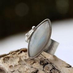 Frozen  Adjustable Metal Soldered Ring with Adularia by AtelierQ