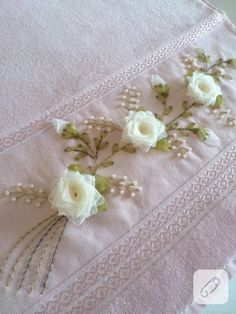 cicekli-white-ribbon-embroidered towel-edge-of-example - Eat Recipes Ribbon Embroidery Tutorial, Bead Embroidery Patterns, Silk Ribbon Embroidery, Floral Embroidery, Cross Stitch Embroidery, Hand Embroidery, Embroidery Designs, Ribbon Art, Ribbon Crafts