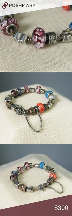 """Pandora Bracelet with 21 Charms Signed Pandora on clasp 925 engraved on side of clasp. Perfect condition Metal chain and charms, and I believe Murano glass beads Length of bracelet: 9 1/2"""" Diameter of widest charms: 7/16""""  Thanks for looking1 #27021 Pandora Jewelry Bracelets"""