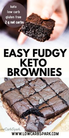 Easy Keto Brownies recipe is so fudgy, chocolatey, and less than net carbs a piece. Try these low carb brownies that melt in your mouth made with only 7 ingredients. Recipe via LowCarbSpark – Keto Recipes Low Carb Sweets, Low Carb Desserts, Easy Desserts, Low Carb Recipes, Dessert Recipes, Healthy Desserts, Low Carb Meals, Ketosis Desserts, Keto Recipes Dinner Easy