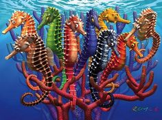 Seahorses, a 550-pc White Mountain jigsaw puzzle, found in KickAss Crazy at Kickasspuzzles.com.