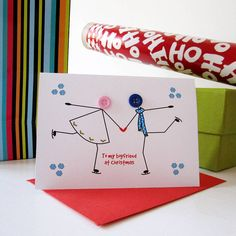 'skating' button christmas card by mrs l cards | notonthehighstreet.com