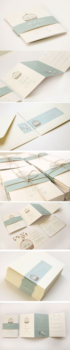 Love the birdcage wedding invitations and way it's put together