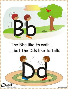 """Dyslexie en Engels Good way to teach how to differentiate between """"b"""" and """"d"""" Very Clever! Kindergarten Literacy, Early Literacy, Literacy Activities, Alphabet Activities, Teaching Reading, Fun Learning, Visual Learning, Reading School, Learning Shapes"""