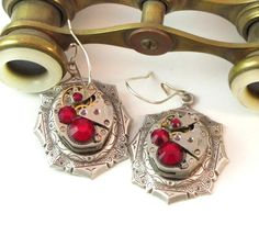 Red Steampunk Earrings Identical Vintage Watch Parts by Mystic Pieces