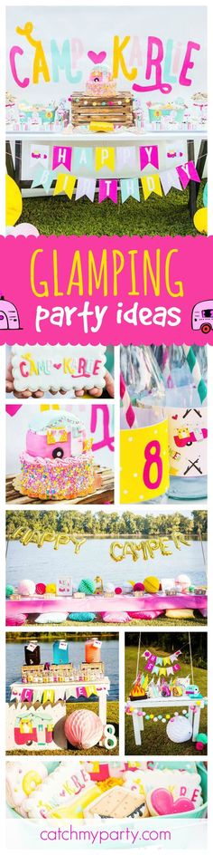 You don't have to rough it in the wild with this fun and stylish Glamping birthday party! The pink caravan trailer cake and cute cookies are amazing! See more party ideas and share yours at http://CatchMyParty.com