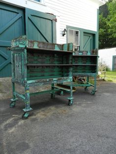 turquoise industrial shelves, old library carts - vintage lockers, lamps, carts and cabinets. a changing table that could transition. Industrial Interiors, Industrial Shelving, Industrial Farmhouse, Industrial House, Modern Industrial, Industrial Furniture, Vintage Industrial, Industrial Design, Industrial Industry