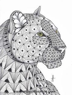 Tangled Leopard Abstract Doodle Zentangle Coloring pages colouring adult…
