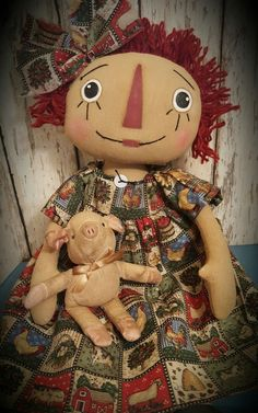 Primitive Raggedy Ann Doll w/ Pig  ~*~ Annie ~*~ Farm ~*~ Prim ~*~
