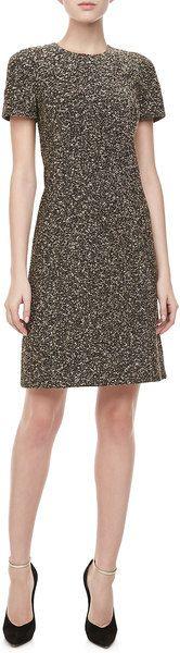 Michael Kors Gray Metallic Tweed Shortsleeve Dress