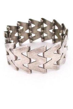 Birger Haglund Sweden vintage modernist Nordic design silver panel link bracelet