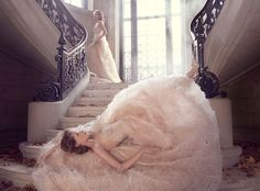 Lazaro sherbet floral bridal gown. Find it now at Gigi's of Mequon!