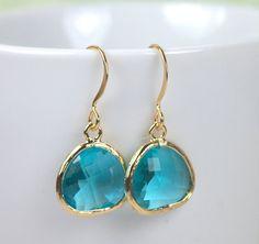 December Blue Zircon Birthstone Quartz Gold Framed Earrings by Theresa Rose Designs