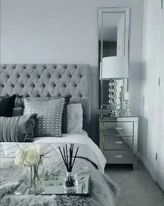 Grey Bedroom Inspo Grey Interior Bedroom Silver Mirror Side Tables regarding proportions 1408 X 1767 Bedrooms With Mirrored Furniture - One from the most Bedroom Inspo Grey, Silver Bedroom Decor, Bedroom Wall Colors, Master Bedroom Design, White Bedroom, Home Decor Bedroom, Silver And Grey Bedroom, Grey Home Decor, Master Bedrooms