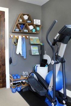 eliptical in corner of a room - Google Search Home Gym Flooring, Flooring Ideas, Home Coffee Stations, Home Gym Design, Creative Storage, Storage Hacks, Trendy Home, Workout Rooms, At Home Gym