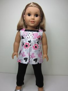 American girl doll clothes - Hearts and flowers pleated tunic top & black leggings  by JazzyDollDuds
