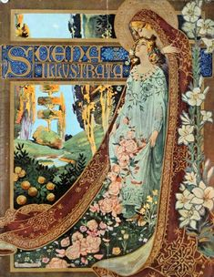 I love how there are complex borders and floral draping in this… also the perspective goes deep. I love that. Scena - Illustration - 1900 - on Vintage Blog