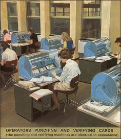 How it Works: Computers 1971 - these aren't computers but key punch machines. They pinched the rectangular holes in IBM cards that were used as computer memory. Key punch operating was a huge career field for women in those days.