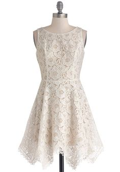 Sugar, Sugar Cookie Dress - Mid-length, Woven, White, Solid, Backless, Lace, Bride, A-line, Sleeveless, Better, Lace, Wedding, Daytime Party, Graduation