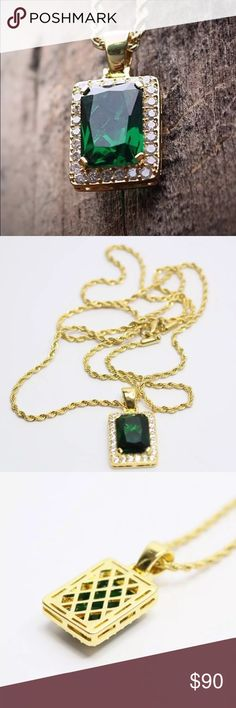 Emerald 14k gold finish necklace with rope chain Charm - 20mm, chain - 24 in Accessories Jewelry