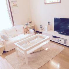 momoさんの、6畳,ソファ,ホワイト,モモナチュラル,IKEA,ダッフィー,部屋全体,のお部屋写真