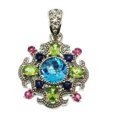 Sima K 'Glamour Queen' silver pendant with sky blue topaz, peridot, tourmaline, iolite and white topaz. by www.simakboutique.com