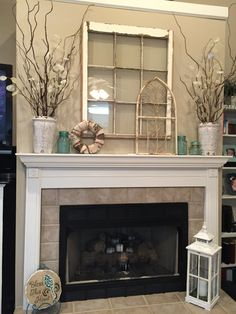 Here's What I Know About Spring Decor Living Room Fireplace Mantels - Pecansthomedecor Cozy Fireplace, Living Room With Fireplace, Fireplace Design, My Living Room, Living Room Decor, Fireplace Ideas, Décor Boho, Farmhouse Decor, Family Room