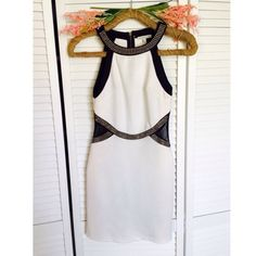 White black dress! Very sexy with gold accent round l waist with side mesh like new Dresses