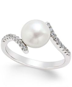 Cultured Freshwater Pearl (8mm) and Cubic Zirconia Bypass Ring in Sterling Silver