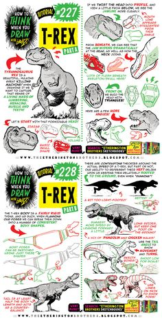 How to THINK when you draw T-REX tutorial! by EtheringtonBrothers on DeviantArt Drawing Lessons, Drawing Techniques, Drawing Tips, How To Draw Fur, You Draw, Dinosaur Drawing, Dinosaur Art, Art Reference Poses, Drawing Reference