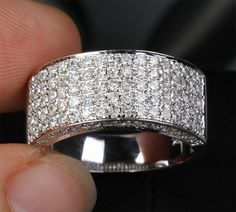 1.35ct Diamonds14KT White Gold Pave Wedding Band Mens Engagement Ring