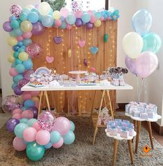 Ideas for baby shower girl with balloons, themes for baby shower girl 2019 - 2 . - Ideas for baby shower girl with balloons, Baby shower themes 2019 – 2020 favorites and more moder - Idee Baby Shower, Cute Baby Shower Ideas, Shower Bebe, Girl Shower, Baby Shower Themes, Baby Shower Decorations, Unicorn Birthday Parties, Unicorn Party, Baby Birthday