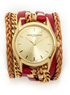 Sara Designs Leather & Chain Wrap Watch - Bordeaux