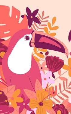Create a fun and energised theme in your young child's space with this quirky toucan bird wallpaper, a tropical design. Tropical Art, Tropical Design, Tropical Plants, Tropical Wallpaper, Bird Wallpaper, Iphone Wallpaper, Graphic Design Illustration, Illustration Art, Toucan