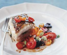 roasted black sea bass w/ tomato & olive salad