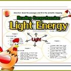 Light Energy  - Sources of light  - Travel of light  - How do see things? - Objects and light - Shadow  There 2 activities:  - Fill in the semantic...